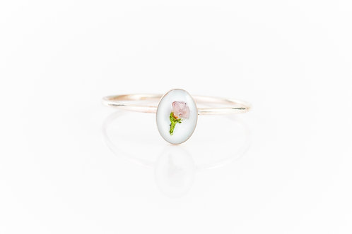 Scottish Highland heather sterling silver resin stacking ring