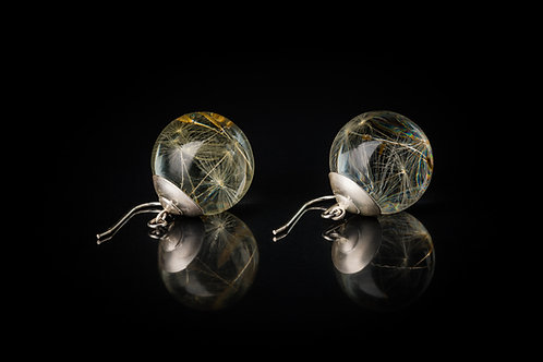 Large dandelion seed globe resin sphere drop earrings