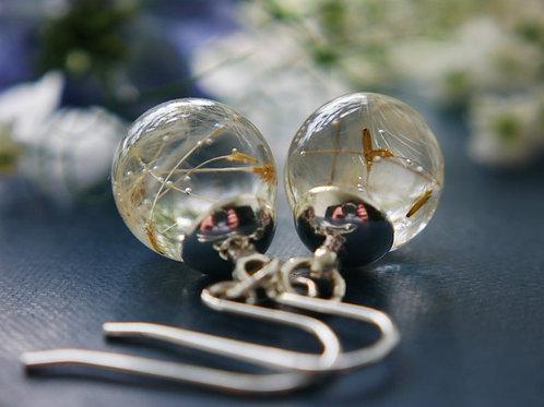 Dandelion seed sterling silver drop earrings