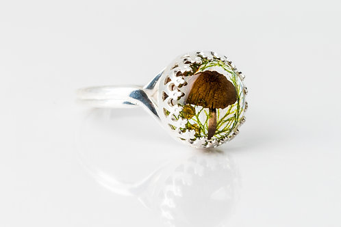 Mushroom, moss and fennel pollen 925 sterling silver resin ring - made to order