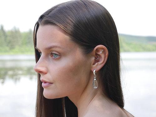 Teardrop dandelion seed sterling silver hoop earrings