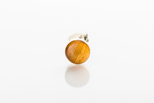 Men's golden botanical resin 925 sterling silver stud earring