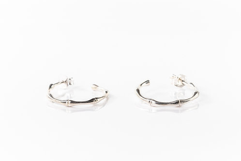 Bamboo sterling silver hoops