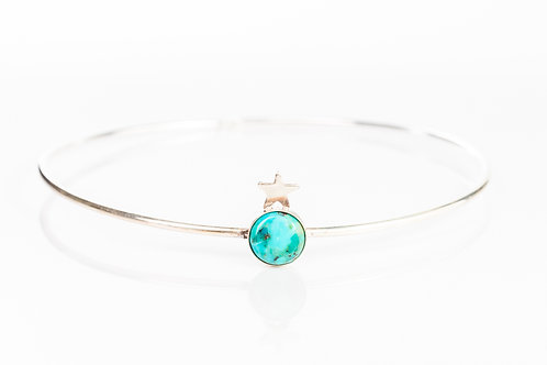 Turquoise and star sterling silver stacking bangle