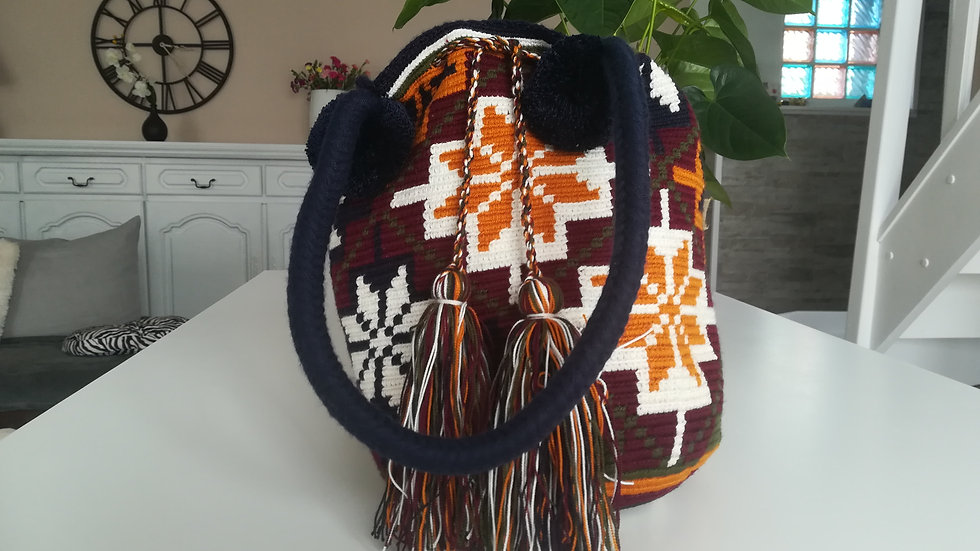 Mochila motif Wayuu Colombie avec poignées