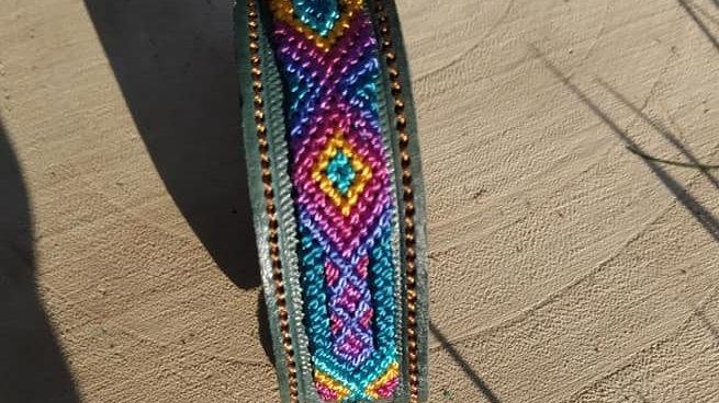 Bracelet cuir tissé nylon Chiapas