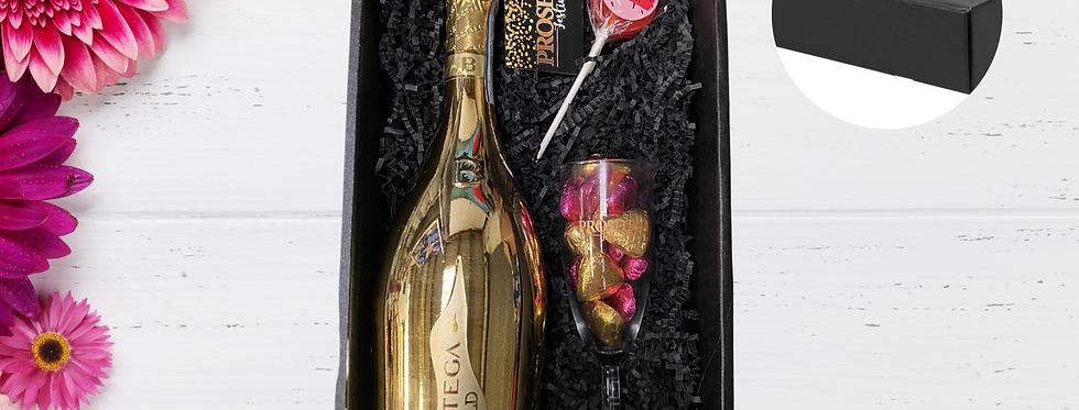 Bottega Gold, Milk Chocolate Hearts & Branded Glass Giftbox
