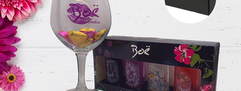 Boe Gin Giftset Selection Box, Boe Gin Glass & Milk Chocolate Hearts Giftset