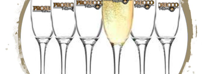 SET OF 6 PROSECCO FESTIVAL BRANDED GLASSES
