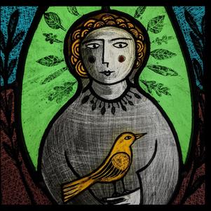 Girl and Bird Panel