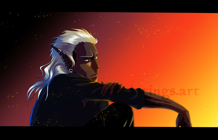 My character Yazzar when he was a Drow in D&D-Universe