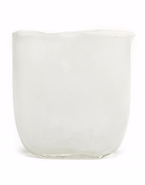 Ellipse White Frosted Hand-Blown Glass Vase - Lg