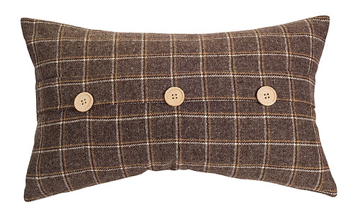 Brown Checkered Pillow with Buttons