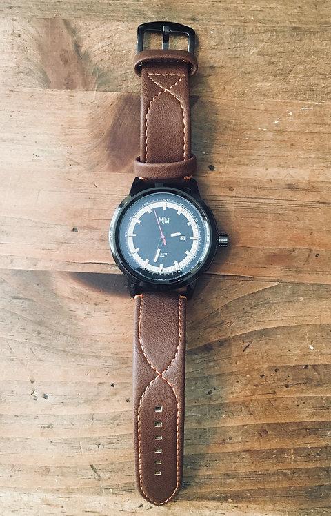 Men's Watch - Brown with Orange Stitching
