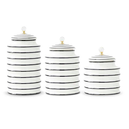 Black & White Ribbed Round Canisters
