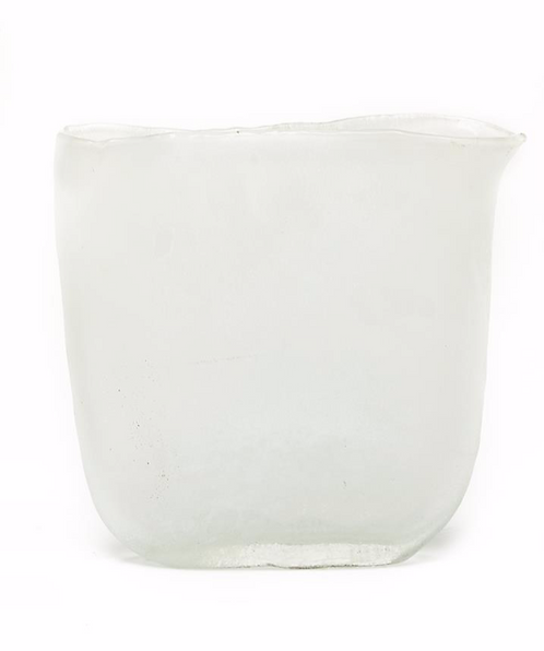 Ellipse White Frosted Hand-Blown Glass Vase - Sm