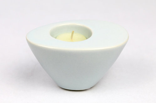 Soft Blue Wedge Candleholder - Small