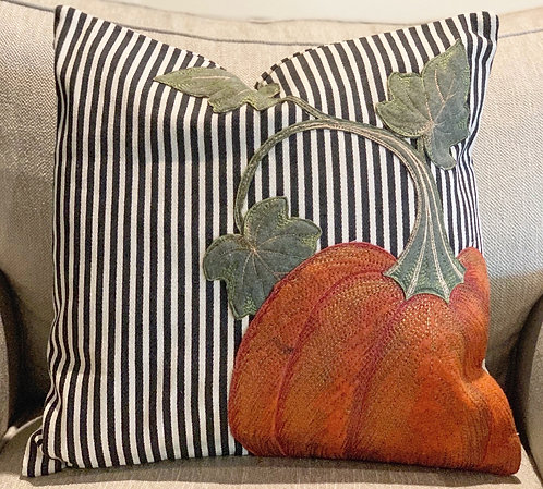 Striped Canvas Pumpkin Pillow