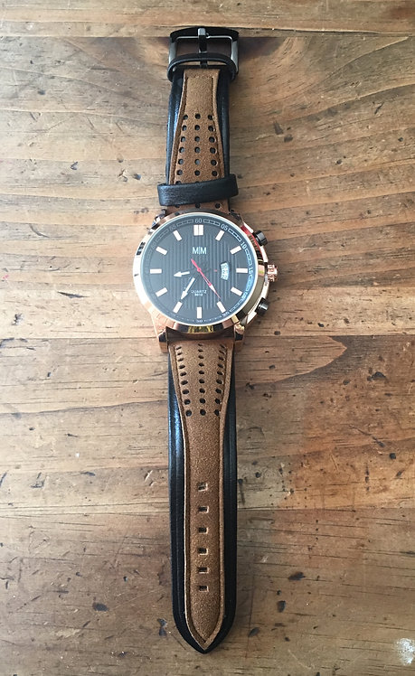 Men's Watch - Camel Brown on Black