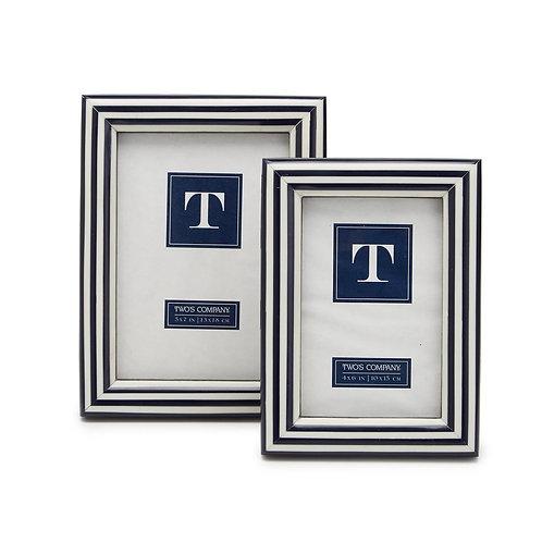 "Blue & White Stripe Photo Frame 5""x7"""