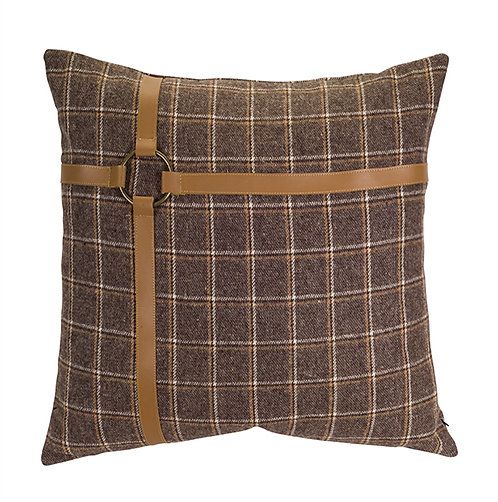 Brown Checkered Pillow