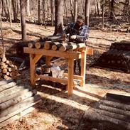 Adam Working in the Mushroom Yard