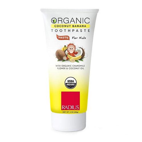 """""""Radius Coconut Banana"""" ekologiška dantų pasta vaikams (6 mėn.+) be fluoro, 85 g"""
