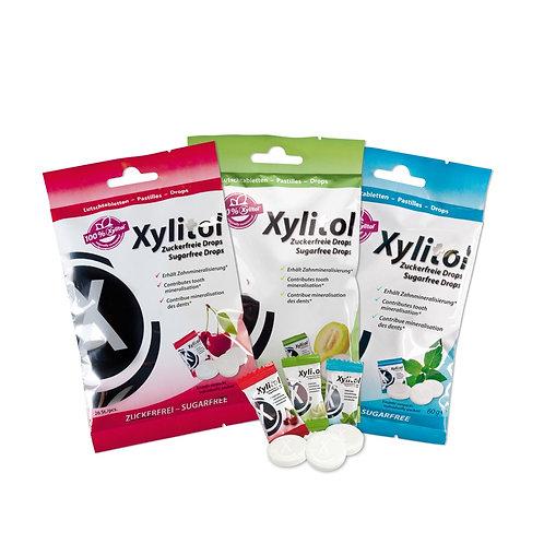 MIRADENT Xylitol pastilės, 60g (meliono, mėtų, vyšnių skonių)