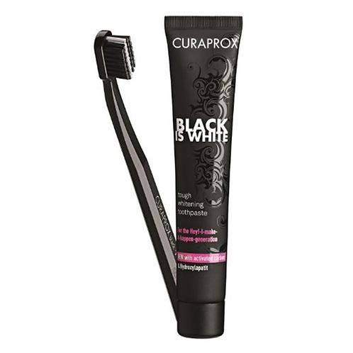 CURAPROX Black is White balinanti dantų pasta, 90 ml, + ypač minkštas šepetėlis