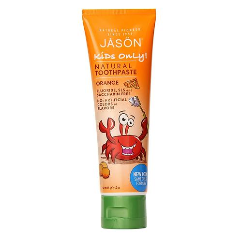 JASON Kidz Only vaikiška natūrali dantų pasta be fluoro apelsinų skonio, 119 gr.