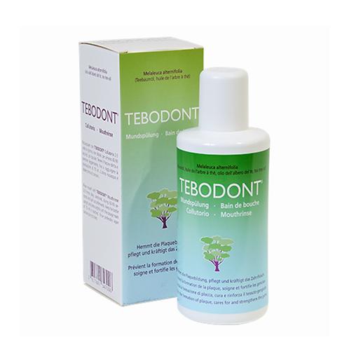 """""""Tebodont"""" burnos skalavimo skystis su arbatmedžio aliejumi be fluoro, 400 ml"""