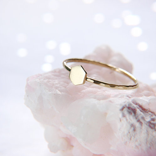 Subtle golden hexagon ring 14k