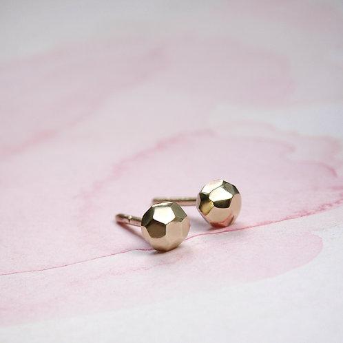 Minimalist golden shiny nugget earrings 14k