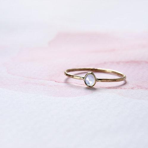 Faceted aquamarine golden ring 14k