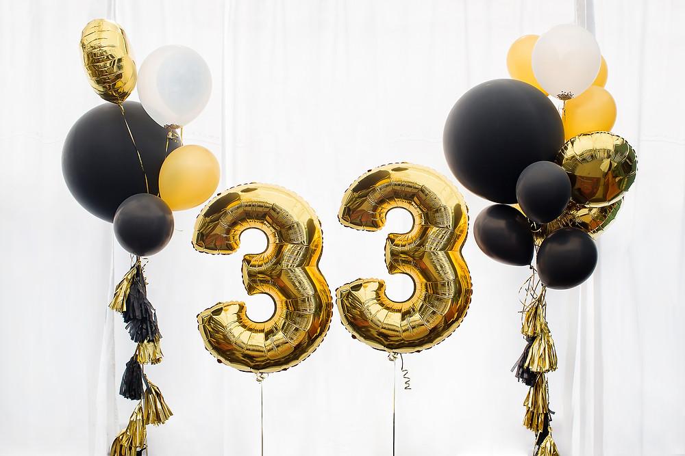 33rd birthday balloons