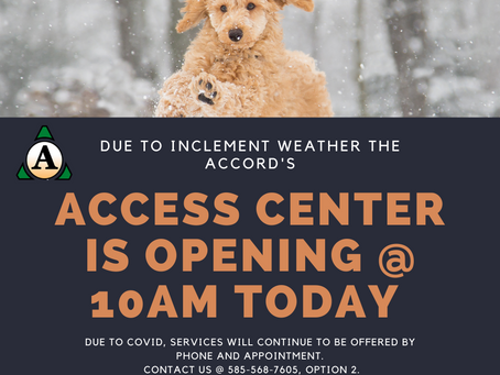ACCESS Center opening at 10am Thursday, Dec. 17th
