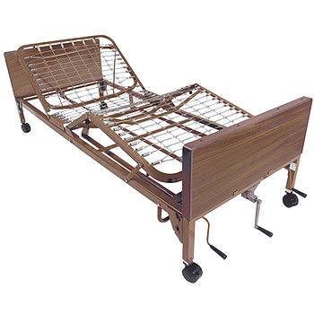 Multi-Height Manual Bed with Rails and Mattresses