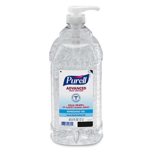 Purell Advanced Hand Sanitizer Gel, 70% Ethyl Alcohol, 2,000 mL Pump Bottle