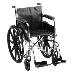 Wheelchair with fixed arm rest and swing away leg rest