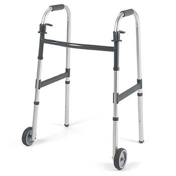 Dual-Release Walker with Fixed Wheels