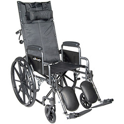 Silver Sport Full-Reclining Wheelchair with Swing-away Elevating Legs