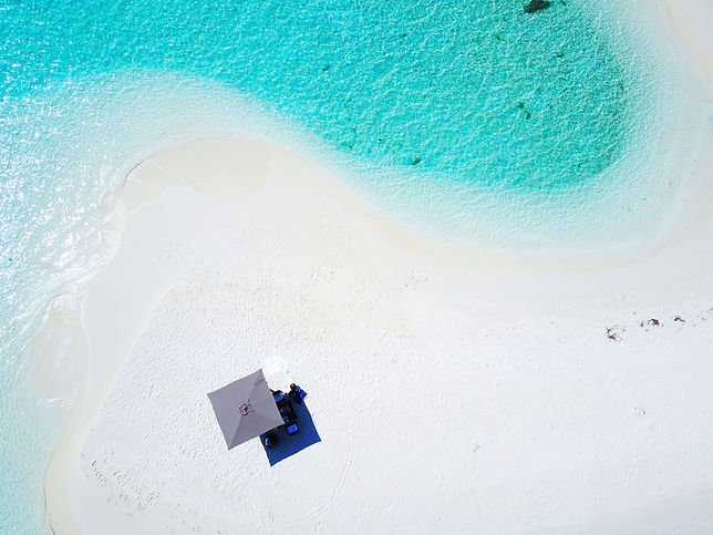 Drone shot of picnic on an uninhabited island