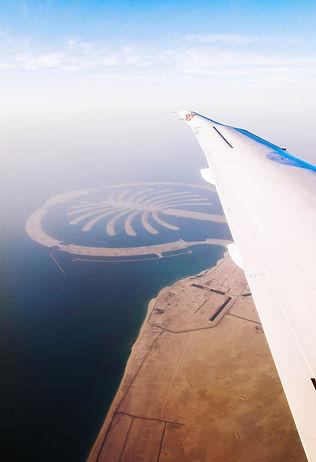 View of the Palm Jebel Ali as we approach Maktoum International Airport