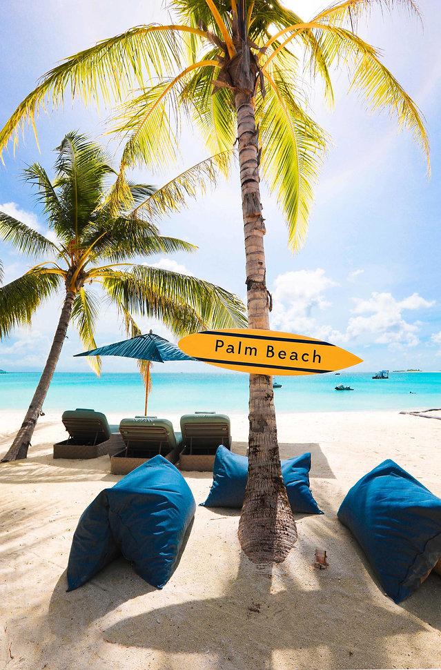 Sun loungers on Palm Beach