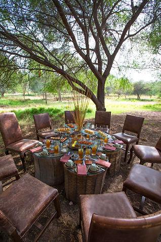Afternoon tea setup at Anantara Al Sahel