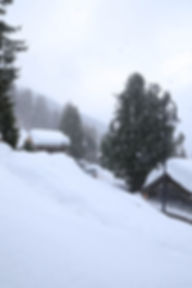 Snow outside Chalet Milou