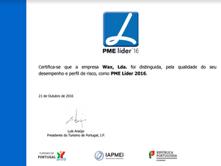 WAX distinguido como PME Líder 2016 pelo Turismo de Portugal