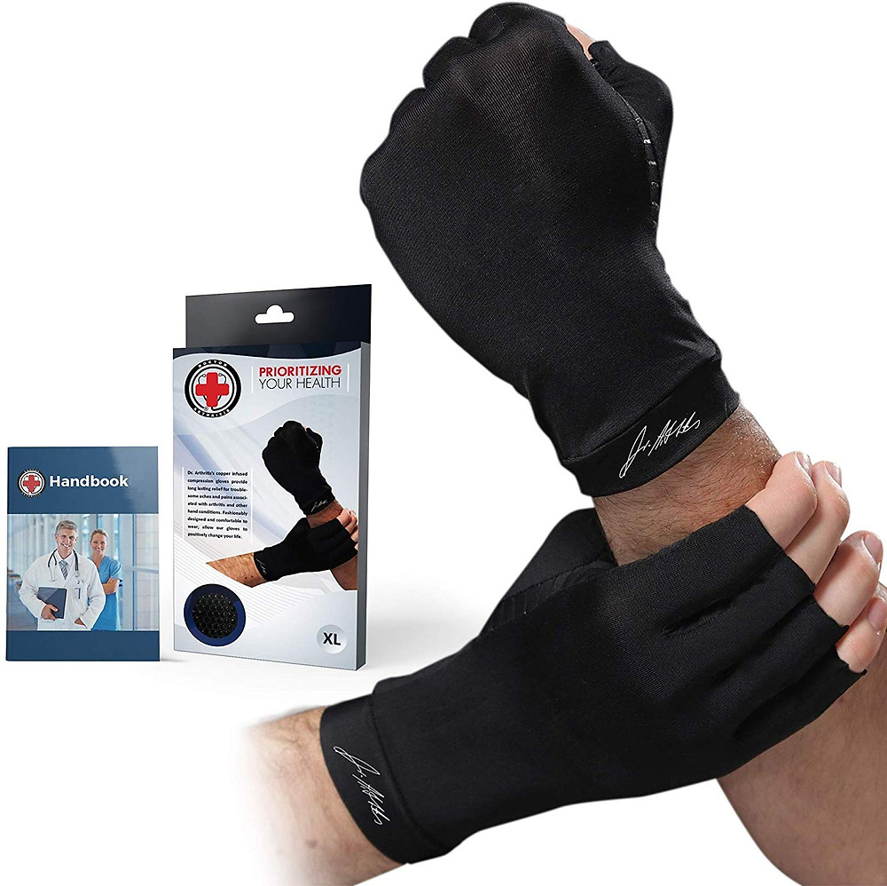 Doctor Developed Copper Arthritis Gloves/Compression Gloves [Pair] & Doctor Written Handbook - Relief from Joint Symptoms, Raynauds Disease, Carpal Tunnel & Hand Conditions (M)