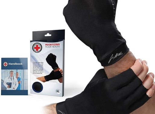 Doctor Developed Copper Arthritis Gloves/Compression Gloves [Pair] & Doctor Written Handbook