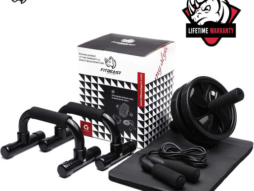 3-in-1 Ab Wheel Roller Set AB Roller with Push-Up Bar, Skipping Rope and Knee Pad
